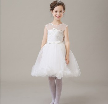 2016 new flower girls elegant Embroidery white lace mesh wedding birthday party dresses baby kids vestidos infantil clothes