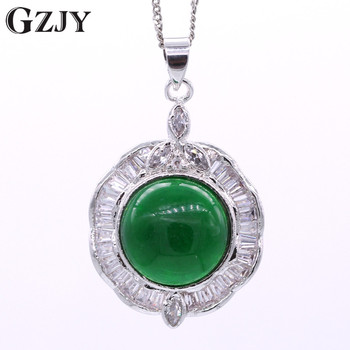 GZJY Fashion Style Round Green Stone Zircon White Gold Color Pendant Necklace High-end Jewelry Women's Birtyday Gifts