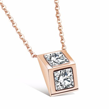 Fatelove Triangular Prism Design Pendant Necklace Titanium Steel Rose Gold Color Inlaid Cubic Zirconia Woman Jewelry gift Girl